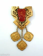 HUGE Vintage 1920s Chinoiserie Chinese Dragons Brass & Czech Glass Brooch PIN
