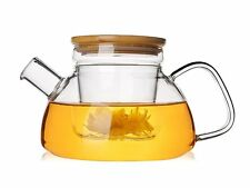 600ml Glass Teapot With Removable Infuser Heat-resistant Borosilicate Bamboo Lid