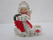 Vintage Napco Ceramic Spaghetti Trim Christmas Angel Candle Holder 1950's Japan
