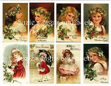 Vintage Postcard Stickers Vintage Victorian Holly Girls Christmas 16 Total