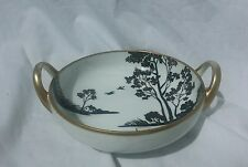 Nippon hand painted vintage candy dish with black and gold water scene