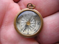 SCARCE ORNATE ANTIQUE VINTAGE GOLD FILLED COMPASS WATCH FOB OR CHARM