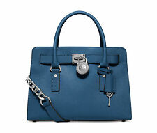 NWT MICHAEL KORS HAMILTON SATCHEL SAFFIANO LEATHER E/W East West Steel Blue $298