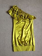 TED BAKER One Shouldered Ruffle Dress Size 2/10 Lime Green Silk Party Wedding