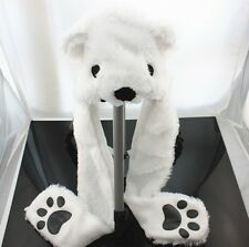 Function Hat/Scarf  WHITE POLAR BEAR PLUSH ANIMAL HAT SOFT WARM EARMUFFS 3 in 1