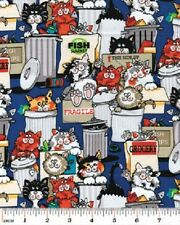 Fat Quarter Back Street Alley Cat Cotton Quilting Fabric 50cm x 55cm