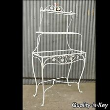 Vintage Wrought Iron French Country Kitchen Stand Bakers Rack Woodard Salterini