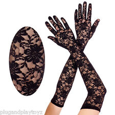 Gothic Black Floral Lace Long Elbow Length Formal Prom Evening Gloves Costume