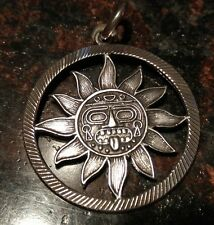 950 STERLING MEXICAN SILVER PENDANT TV 02 MEXICO MYAN SUN �� BIG