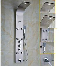 Luxury Nickel Brushed Thermostatic Shower Column Shower Panel Tub Tap Jets Unit