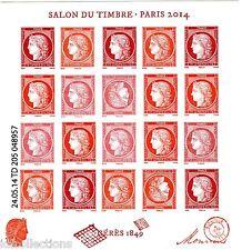 bloc vermillon salon du timbre Paris 2014 F4871 tirage 35000