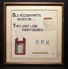 Embroidered Quote Old Accountants Never Die...Sharp Calculator, 1982