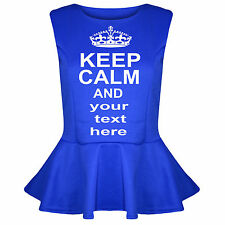 KEEP CALM personalised women Flared Frill Party Peplum Top 12-26