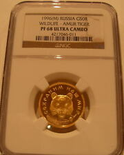 Russia 1996 Gold 0.25 oz 50 Roubles NGC PF-68UC Amur Tiger