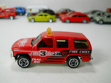 Matchbox 1997 Chevy Tahoe Fire Chief Truck Department 3 VHTF 1/64 Scale JC50
