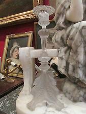 ancien bougeoir chandelier verre givré moulé style gothique decor d' aigle 19e