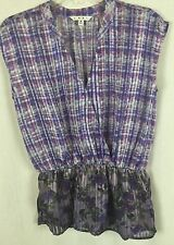 Cabi S Floral Plaid Watercolor Sleeveless Vneck Peplum Blouse Shirt Top f