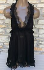 S Victoria's Secret Black Sexy Chantilly Lace Teddy Babydoll Gown Small Nwt