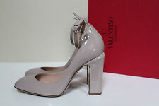 sz 5.5 / 35.5 Valentino Nude Patent Leather Tan-Go Tango Ankle Strap Pump Shoes