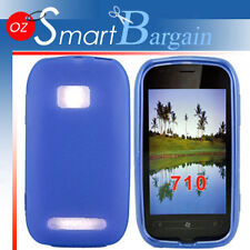 New BLUE Soft Gel TPU Cover Case For NOKIA Lumia 710 + Screen Protector