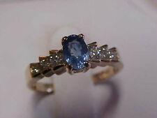 *ESTATE*TANZANITE & DIAMOND PROMISE RING 14K YELLOW GOLD sz7 **BUY NOW**GIFT IT*