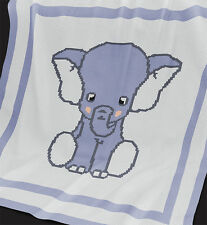 "KNITTING Baby Blanket Pattern ""Blue Elephant"" - KNIT PATTERN – DK"