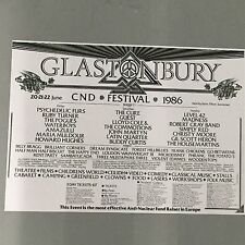GLASTONBURY FESTIVAL 1986 CONCERT POSTER (A3 SIZE) POGUES WATERBOYS RUBY TURNER