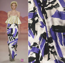 DESIGNER 60% SILK 40% COTTON WITH PURPLE BLACK PAINTING PRINT 140CM WIDTH B017