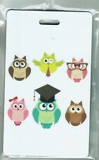 Owl Luggage Tag - 6 Owls on White- Plastic Tag - Name/Address Details on Back