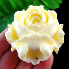 Beautiful White Cinnabar Carved Flower Pendant Bead L67Y1665