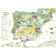 "De Long's Wine Map of the Iberian Peninsula (Spain & Portugal) 24"" x 36"""