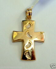 Brand New 14K Two Tone Gold Follow My Steps Cross Religious Charm Pendant