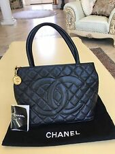 100% Authentic CHANEL 24K Gold Medallion Tote Bag Quilt Black Caviar Flap Jumbo