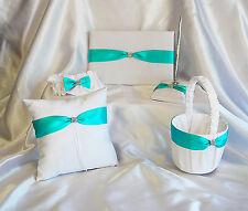 WHITE SPA TIFFANY BLUE WEDDING SET PILLOW GUEST BOOK FLOWER GIRL BASKET