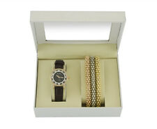 Time Design Women Ladies Quartz Analogue Watch Gold Bracelet Set Gift Present