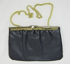 Vintage 60's 70's Midnight Blue Faux Leather Gold Tone Shoulder Bag Clutch Purse