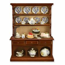 Dollhouse Miniature Kitchen Hutch w/Blue Onion Dishes by Reutter Porcelain