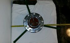 VINTAGE CHRISTMAS TREE STAND RED GREEN SILVER METAL 3 LEGS good condition