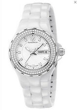 "NWT $3400 TECHNOMARINE LADIES WHITE QUARTZ ""CRUISE"" DIAMOND CERAMIC WATCH"