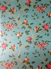 Zoffany 'Manchu' wallpaper ZFLW03005 Turquoise (floral & birds design)