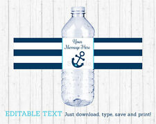 Nautical Anchor Water Bottle Labels Printable Editable PDF