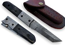 Pompey Pocket Knife Damascus Steel Blade & Bolster Horn Handle