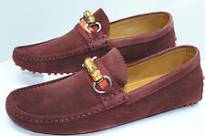 Gucci Men's Shoes Suede Loafers Size G 11 Queen Bamboo Drivers Dress NIB