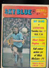 Coventry City FC Sky Blue v Liverpool April 17 1973 Emlyn Hughes Mick McGuire