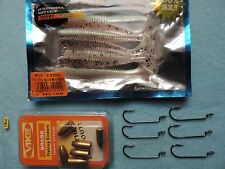 .(P/S) Soft Ring Worm Shad Lure Set Hooks Weights Perch Pike LRF Jelly Bass Chub