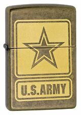 Zippo Lighter: U.S. Army Logo - Antique Brass 28933