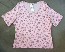 M&S PINK T.SHIRT & BUTTERFLIES WITH SCOOP NECKLINE & SHORT SLEEVES-SIZE 24 BNWT