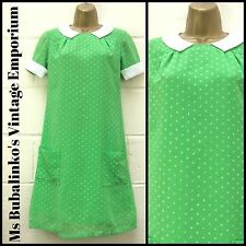 Vintage 60s Green Polka Dot Peter Pan Collar Mini Shift Dress S 8 10 Mod Retro