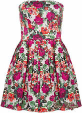 Topshop Bandeau Rose Print Corset Bodice Party Dress UK 14/42 Pink Floral New