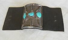 """Native American Archer's arm-guard sheath leather silver 3 turquoise stones 4"""""""